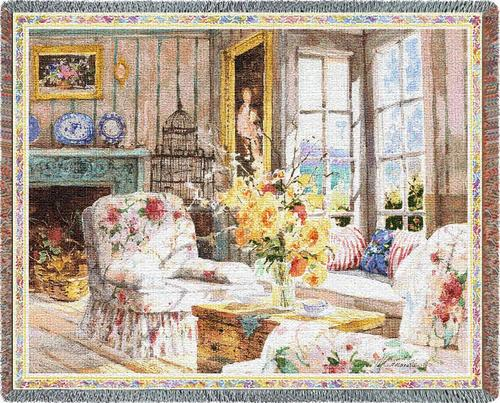 Sun Filled Chintz Tapestry Throw, 54in x 70in