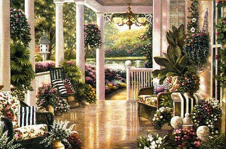 Sunday Afternoon II Floral Terrace Tapestry Wall Hanging, 53in X 35in
