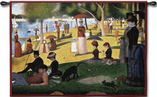Sunday Afternoon By Seurat Wall Tapestry - Impressionist Style Painting, 26in x 33in