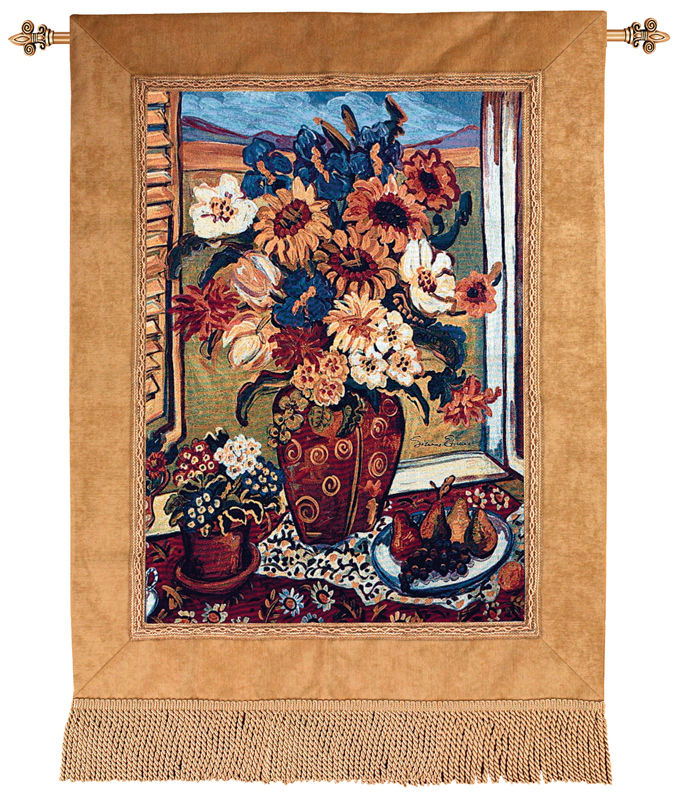 Sunflowers At Window Floral Tapestry Wall Hanging - Flowers In A Vase Picture, 35in X 50in
