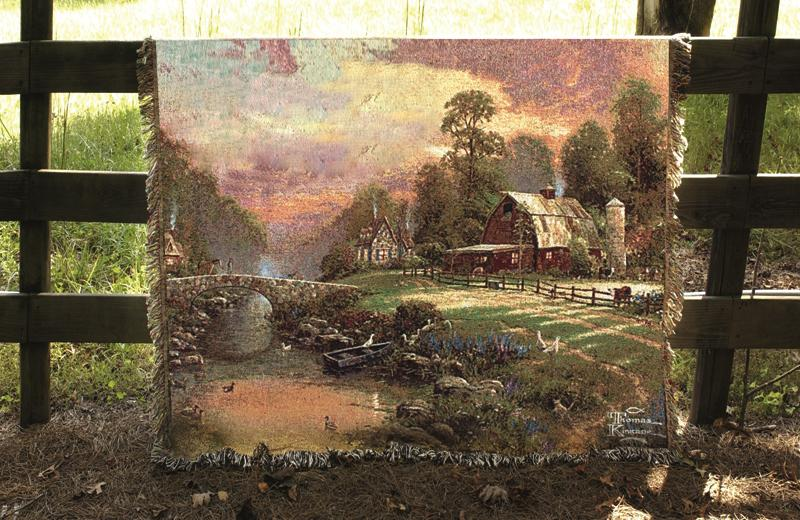 Sunset At Riverbend Farm Scenic Tapestry Throw - Thomas Kinkade Painting, 51in X 68in