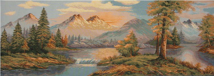 Sunset In Mountains Tapestry - Beautiful Scenery Picture, 19in X 54in