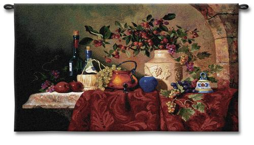 Tavola Decapris Still Life Wall Tapestry - Fruits And Wine Picture, 26in x 34in