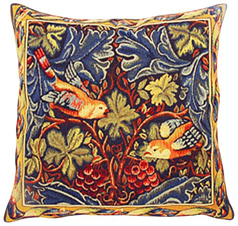 The Birds Tapestry Cushion Cover - Classic Home Decor Collection, 18in x 18in cushion cover