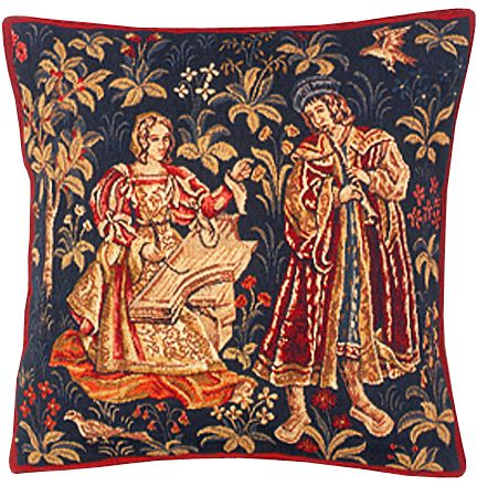 The Concert Tapestry Cushion Cover - Classic Home Decor Collection, 18in x 18in cushion cover