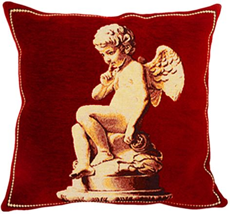 The Cupid Tapestry Cushion Cover - Classic Home Decor Collection, 18in x 18in cushion cover