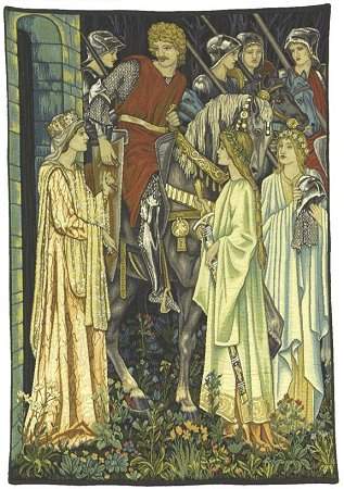Arthurian Medieval Tapestry The Quest for the Holy Grail - Knight Medieval Pictures, 58in x 46in