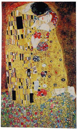 The Kiss Romantic Tapestry Wall Hanging - Gustav Klimt Art, 45in X 26in