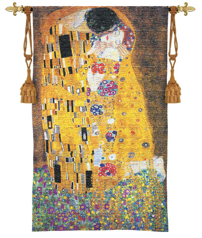 Gustav Klimt The Kiss Tapestry Wall Hanging - Romantic Pictures, 53in x 76in