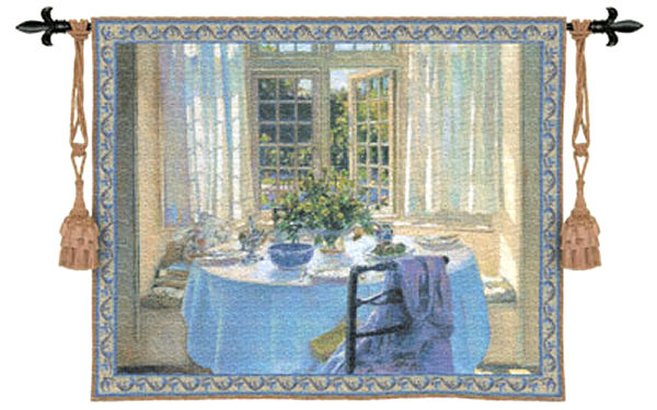 The Morning Room Wall Tapestry - Room Scene With Flowers, 53in x 43in
