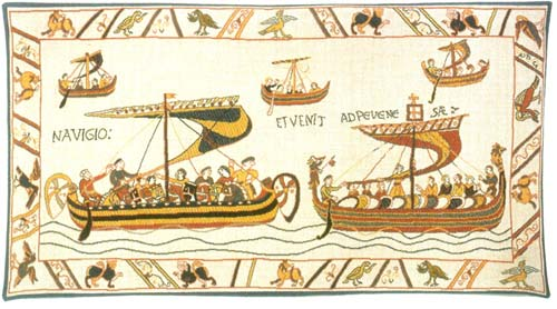 The Norman Fleet Medieval Tapestry Wall Hanging - Bayeux Design, 16in X 33in