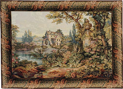 The Old Mill Pastoral Tapestry Wall Hanging, 24in X 34in