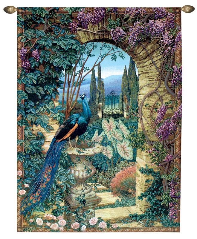 The Secret Garden Peacock Picture Tapestry Wall Hanging, 56in X 80in