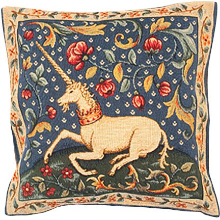 The Unicorn Tapestry Cushion Cover - Classic Home Decor Collection, 18in x 18in cushion cover