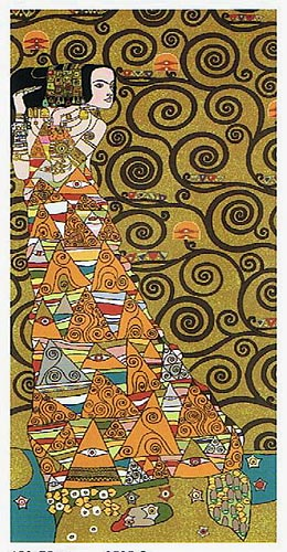 The Waiting Left Panel I Abstract Painting Tapestry Wall Hanging - Gustav Klimt Art, 118in x 58in
