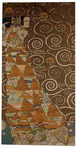 The Waiting Left Panel Abstract Painting Tapestry Wall Hanging - Gustav Klimt Art, 58in x 28in