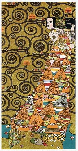 The Waiting Right Panel I Abstract Painting Tapestry Wall Hanging - Gustav Klimt Art, 58in x 28in