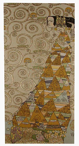 The Waiting Right Panel Abstract Painting Tapestry Wall Hanging - Gustav Klimt Art, 58in x 28in