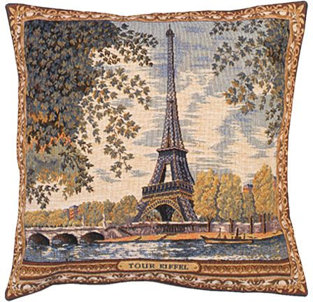 Tour d'Eiffel City View Tapestry Cushion Cover - European Home Decor Collection, 18in x 18in cushion cover