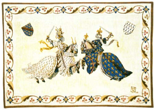 Tournoi Du Roi Rene Medieval Wall Tapestry - Tournament Of Knights, 18in X 27in