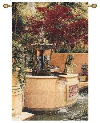 Tranquil Fountain Garden Tapestry Wall Hanging, 45in x 70in