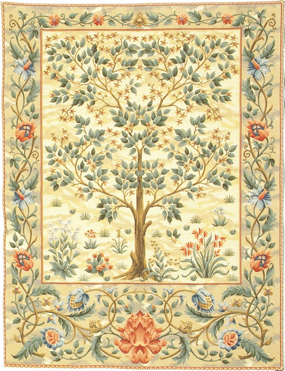 Tree Of Life Beige II Tapestry Wall Hanging, H40in x W28in