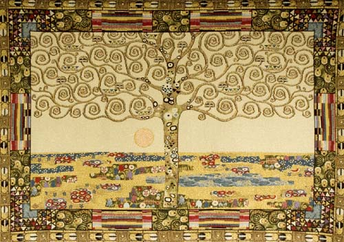 tree of life abstract painting tapestry wall hanging gustav klimt art 19in x 25in