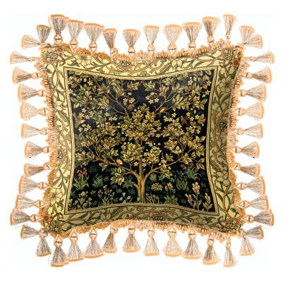 Tree of Life Midnight Blue Medieval Tapestry Cushion - Mille Fleurs Styled, 17in x 17in
