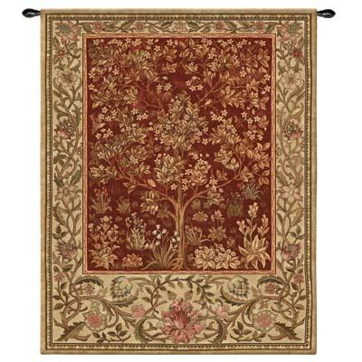 Tree of Life Ruby Mille Fleur Wall Tapestry - William Morris Design, 40in x 53in