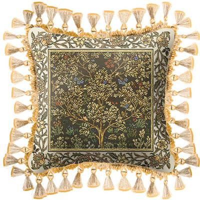 Tree of Life Umber Medieval Tapestry Cushion - Mille Fleurs Styled, 17in x 17in