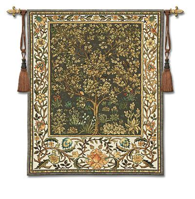 Tree Of Life Umber Mille Fleur Wall Tapestry - William Morris Design, 53in X 77in