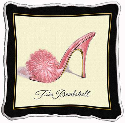 Tres Bombshell Contemporary Tapestry Cushion - Fashion Design, 17in x 17in