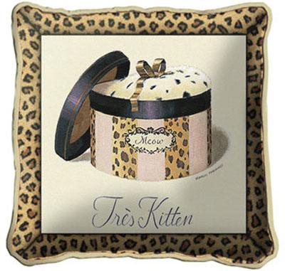 Tres Kitten Contemporary Tapestry Cushion - Fashion Design, 17in x 17in