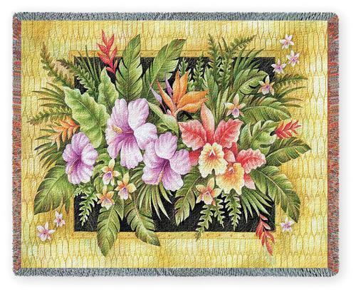Tropical Flowers Tapestry Throw, 53in x 70in