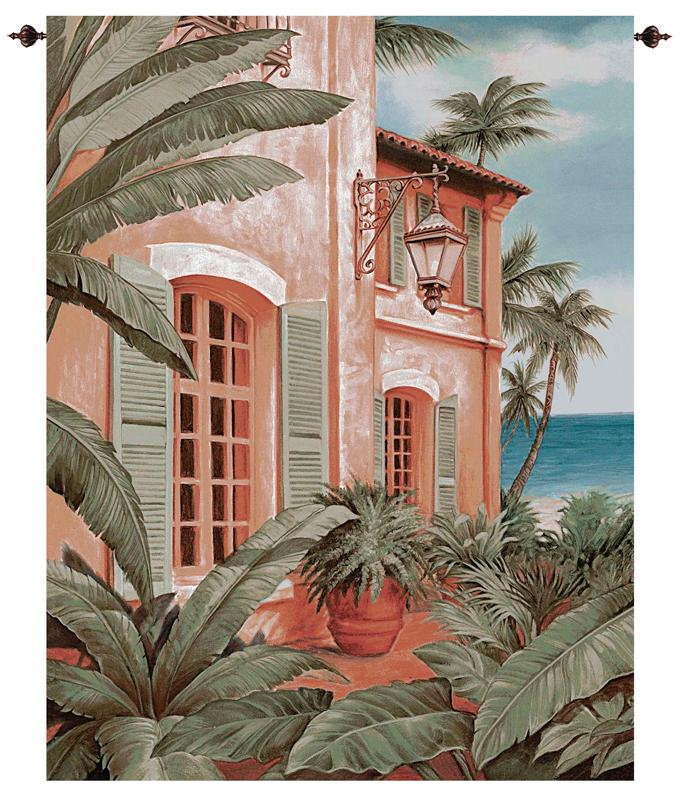 Tropical Villa Tapestry Wall Hanging - Waterfront View Picture With Palms, 53in X 35in