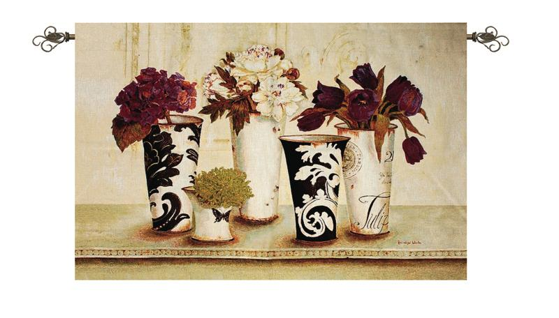 Tulip Elegance Tapestry Wall Hanging - Flowers In Vase Picture, 53in X 35in