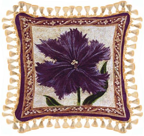Tulip Unveiled I Floral Tapestry Cushion - Flowers In Vase Picture, 27in x 27in