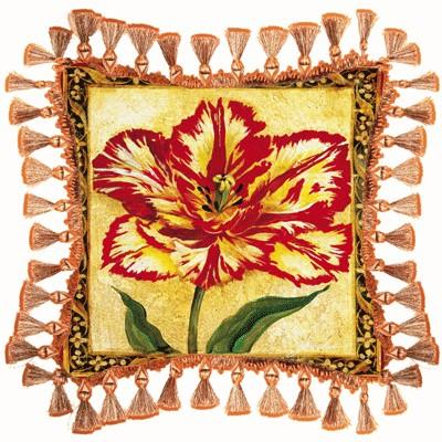 Tulip Unveiled II Floral Tapestry Cushion - Botanical Design, 27in x 27in