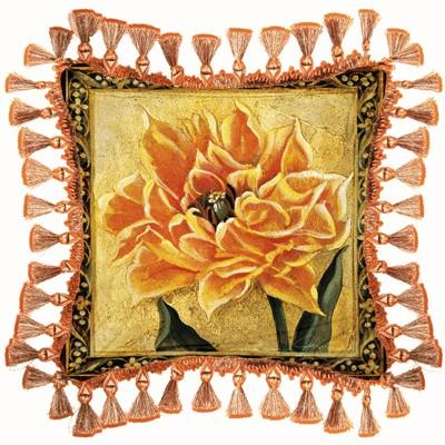Tulip Unveiled III Floral Tapestry Cushion - Botanical Design, 27in x 27in