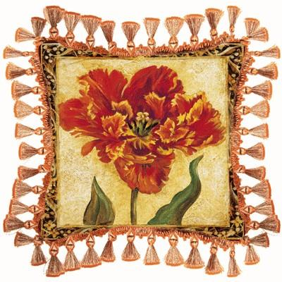Tulip Unveiled IV Floral Tapestry Cushion - Botanical Design, 27in x 27in