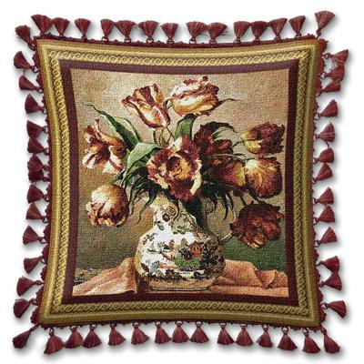 Tulips in Oriental Vase Floral Tapestry Cushion - Botanical Design, 27in x 27in