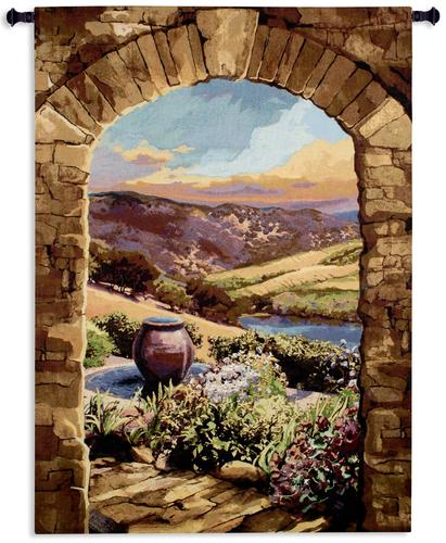 Tuscan Afternoon Tapestry Wall Hanging, 64in x 90in - European Landscape