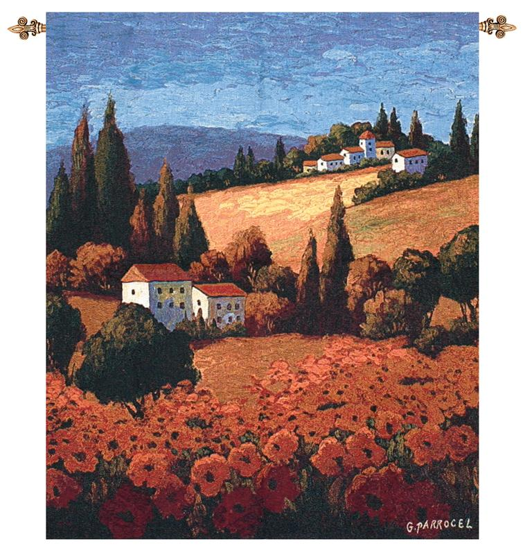 Tuscan Poppies Tapestry Wall Hanging Italian Countryside Picture, 35in X 42in