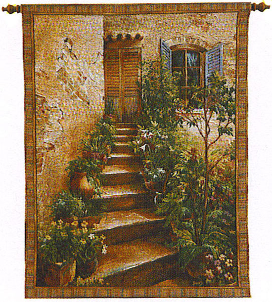 Tuscan Villa II Tapestry Wall Hanging - Italian Countryside Picture, 43in x 53in