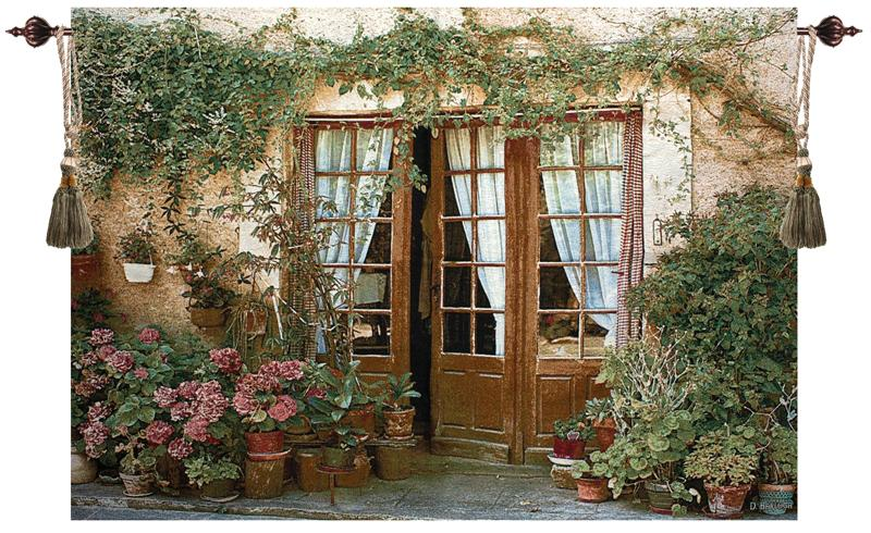 Twenty Four Pots Floral Terrace Tapestry Wall Hanging, 70in X 50in