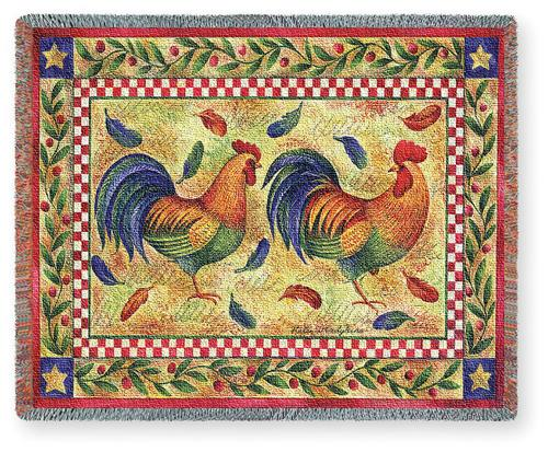 Two Roosters Tapestry Throw, 70in x 54in