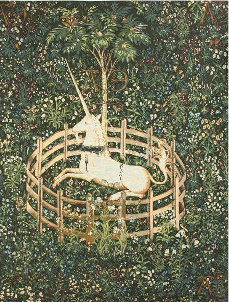 Unicorn In Captivity III Tapestry Wall Hanging, H56in x W40in