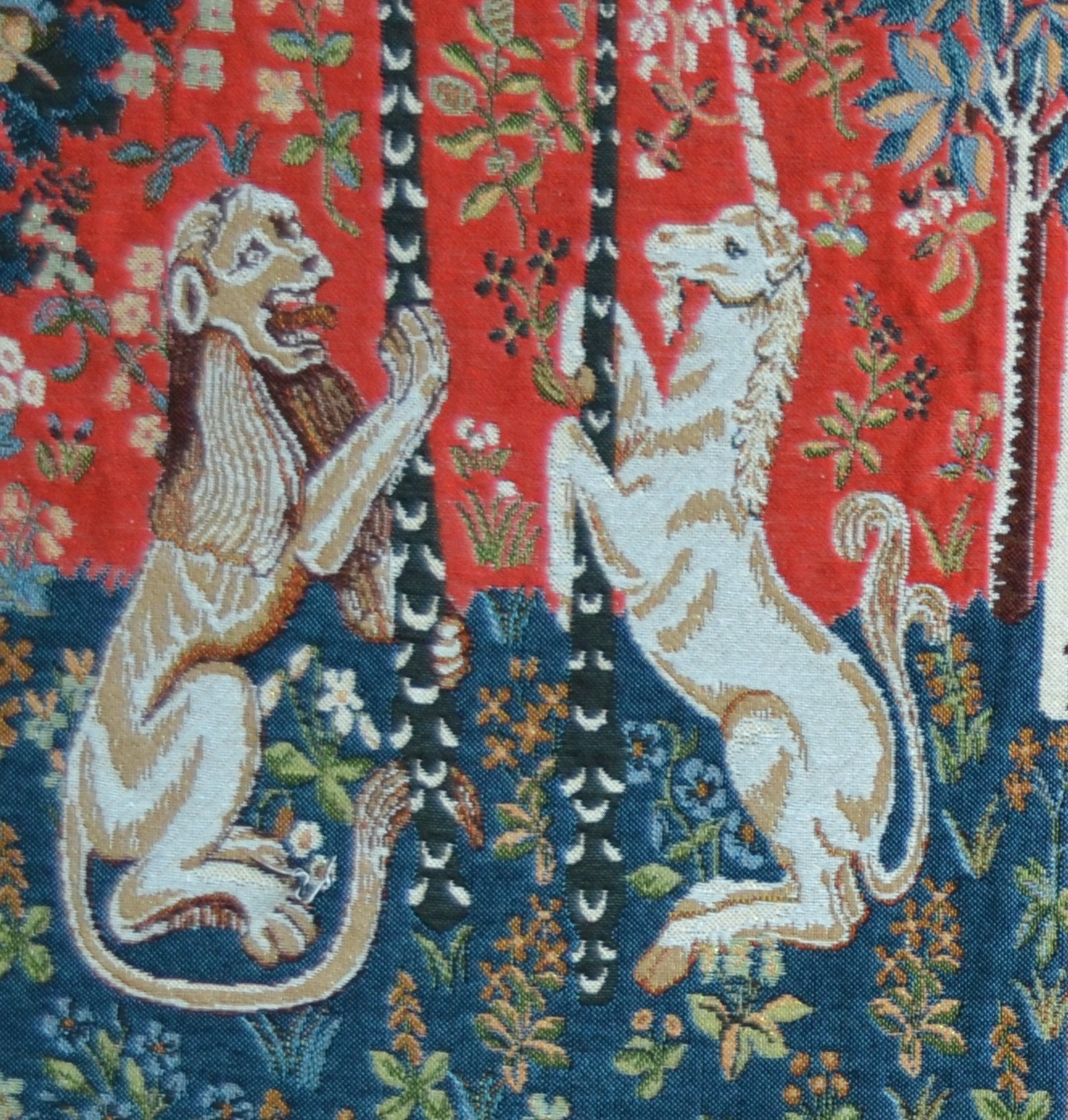Unicorn Series Lion And Unicorn  Tapestry Cushion Cover, H14in x W14in