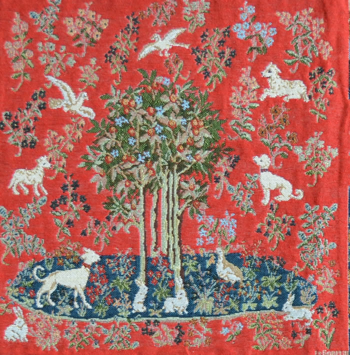 Unicorn Series Medieval Apple Tree  Tapestry Cushion Cover, H14in x W14in
