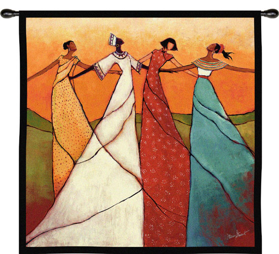 Unity African Tapestry Wall Hanging - Ethnic Designs, 31 X 31